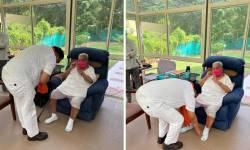 BJP પ્રદેશ પ્રમુખ બન્યા બાદ સી.આર.પાટીલે કેશુબાપાને મળીને આશિર્વાદ લીધા