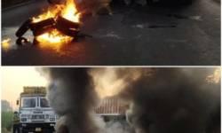 ભારત બંધ : વડોદરા -ભરૂચ-દહેજ ઠેરઠેર હાઇવે ઉપર ટાયરો સળગાવાયા,રસ્તા જામ કરવાનો થયો પ્રયાસ