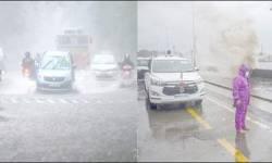 મુંબઇના દરિયામાં ૧૩-૧૩ ફુટ ઉંચા મોજા ઉછળ્યાઃ ૧૮૫ કિમીની ઝડપે પવન ફુંકાયો : ભારે વરસાદ